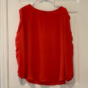 Salmon Blouse with Ruffle Sleeves